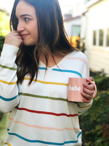 MULTI STRIPE V NECK TUNIC SWEATER