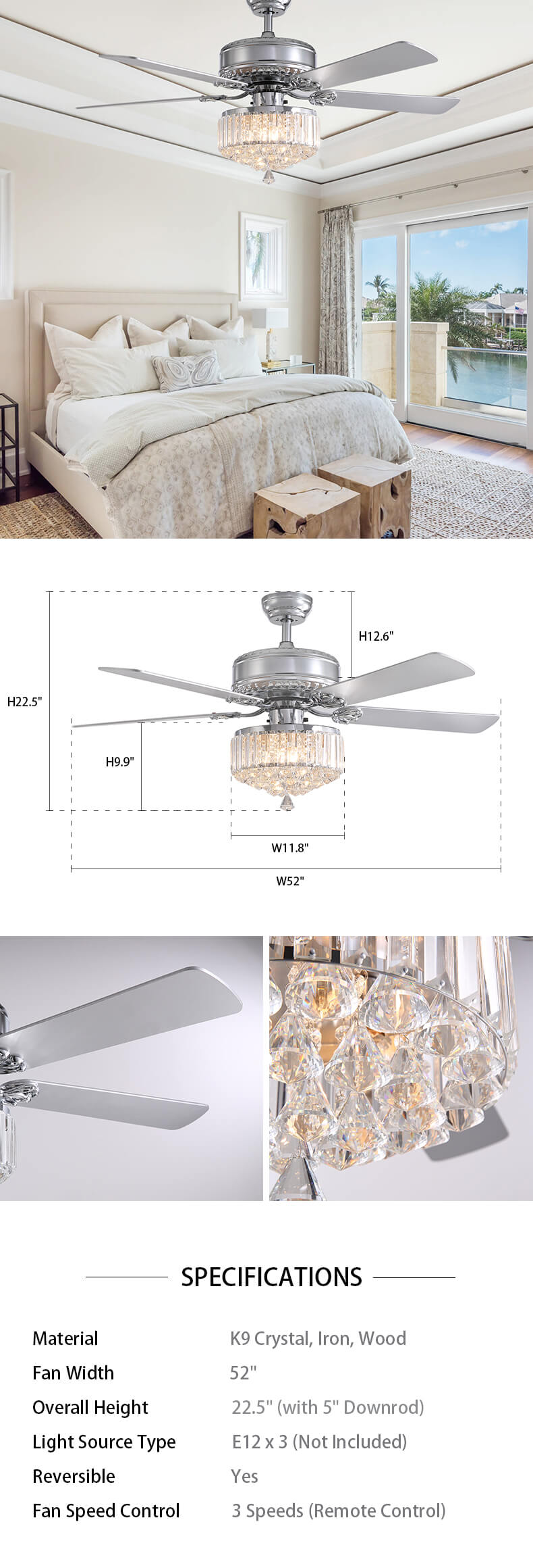 Dimension For Crystal Chandelier Fan with Reversible Blades