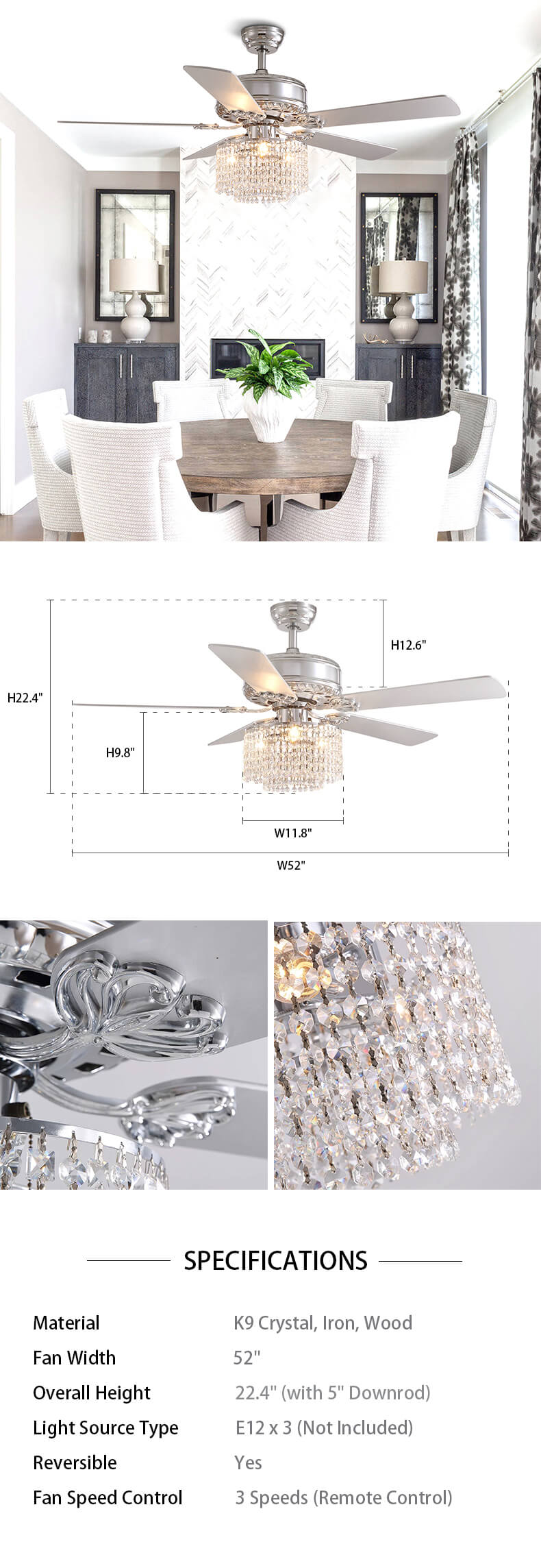 Dimension For Crystal Wood Blade Ceiling Fan
