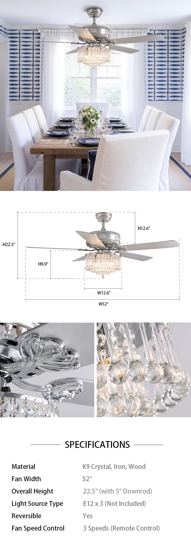 Dimension For Crystal Wood Blade Chandelier Ceiling Fan