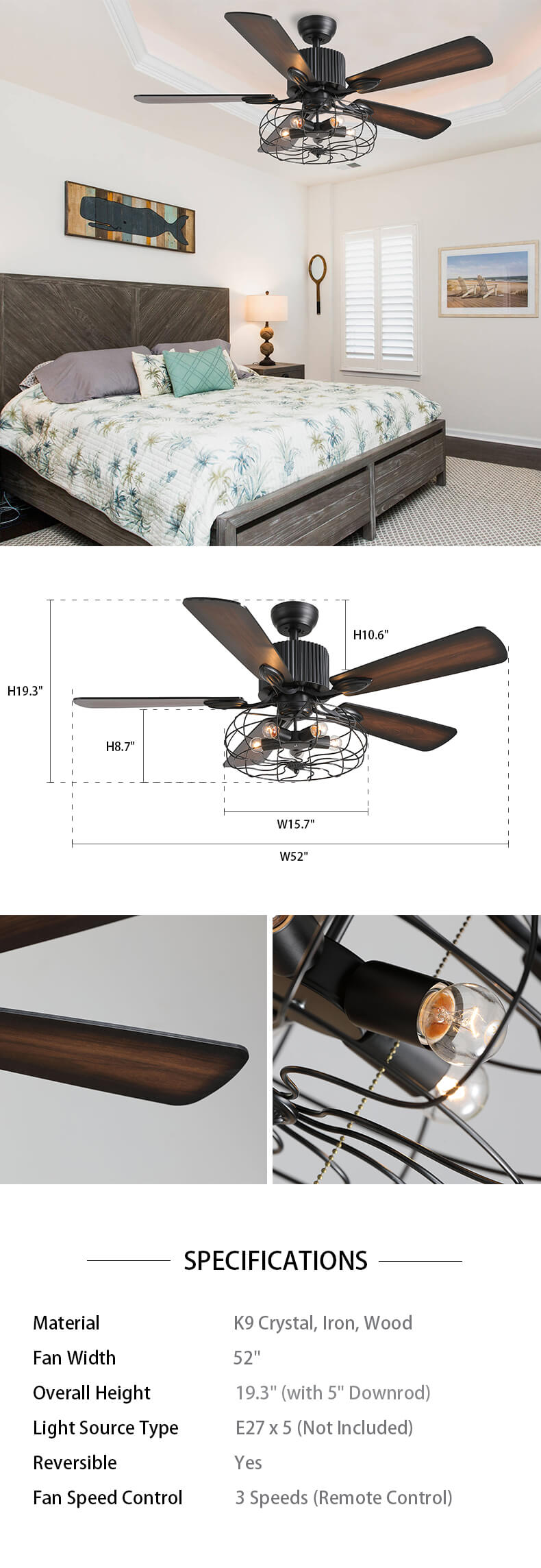 Dimension For Industrial Ceiling Fan with Wood Blades