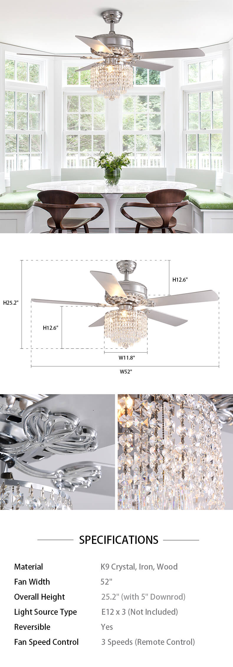 Dimension For Reversible Chandelier Fan with Crystal and Wood Blades