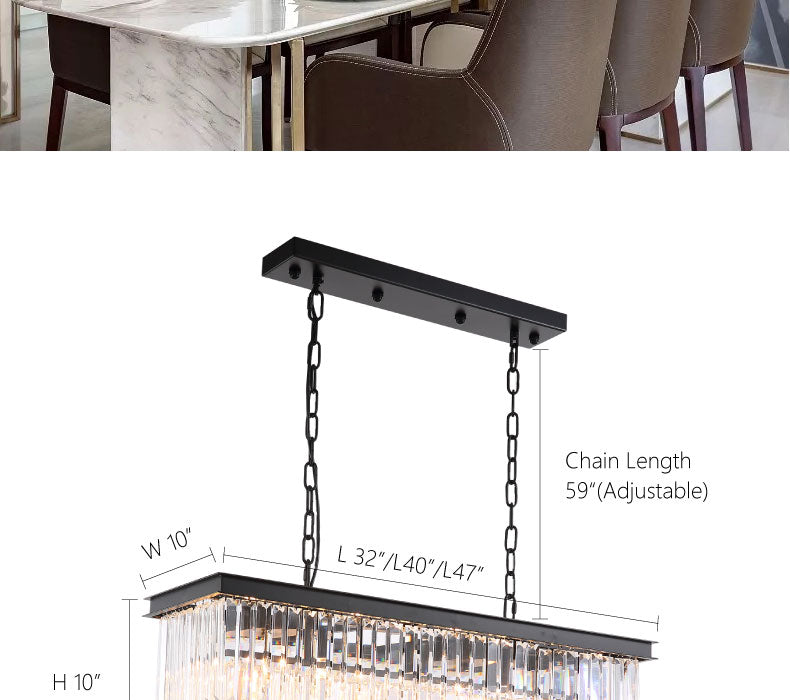 Rectangular Crystal Chandelier Dimensions