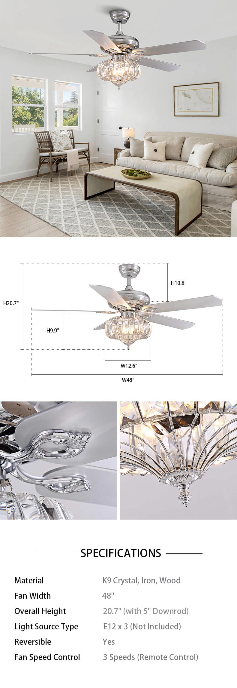 Reversible Ceiling Fan with Crystal Shade Dimensions