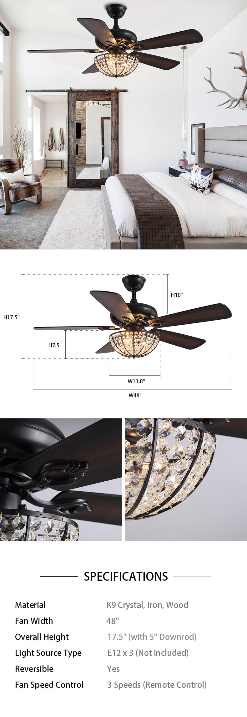 Vintage Wood Blades Ceiling Fan with Crystal Dimensions