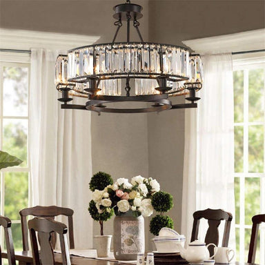 Farmhouse Antique Round Island Crystal Chandelier - 7PM LIGHTING