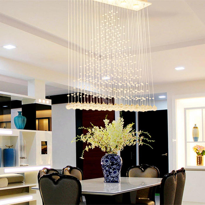 Pyramid Rectangular Crystal Rain Drop Chandelier - 7PM LIGHTING