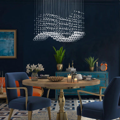 Rectangle Wave Raindrop Crystal Chandelier