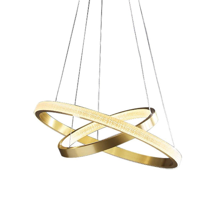 2 Rings Contemporary Gold Round Pendant Light