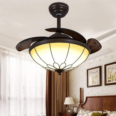Retractable Simple Chandelier Ceiling Fan with Dimmable Lights