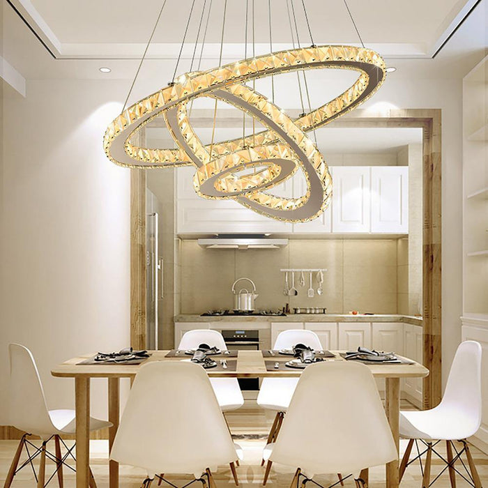 LED Multiple Rings Galaxy Crystal Chandelier