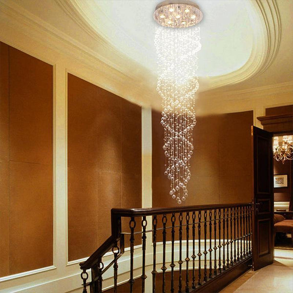 7PM Modern Contemporary Luxury Staircase Double Spiral LED Crystal Chandelier Lighting Fixture Lamp - 7PM LIGHTING