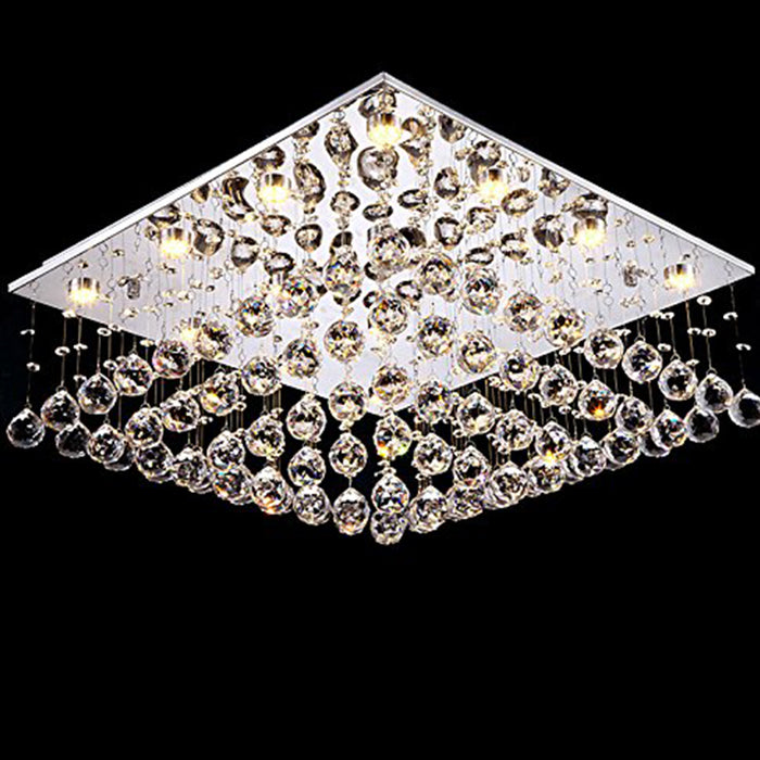 7PM Square Rain Drop Clear LED K9 Crystal Chandelier