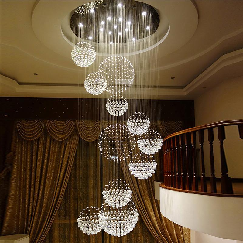 a30c5f91f1 7PM Luxury Round Large 11 Sphere Rain Drop Crystal Chandelier – 7PM ...
