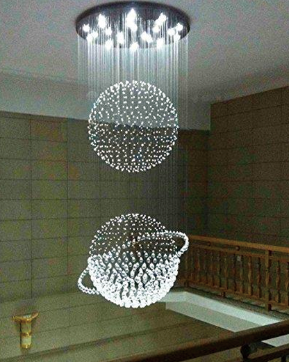 7PM Luxury Round Double Sphere Rain Drop Ceiling Lamp Clear K9 Crystal Chandelier for Hotel Hall Staircase Lighting Fixture