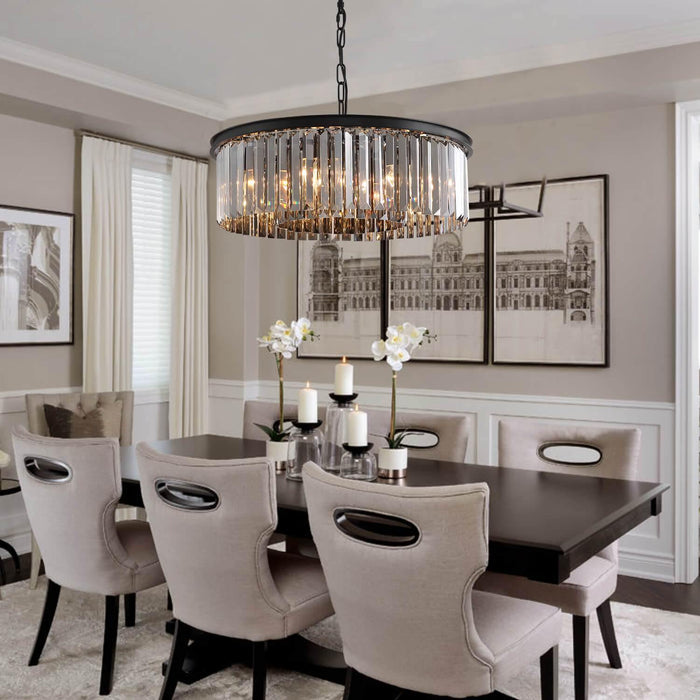 2-Layered Round Crystal Pendant Light For Dining Room