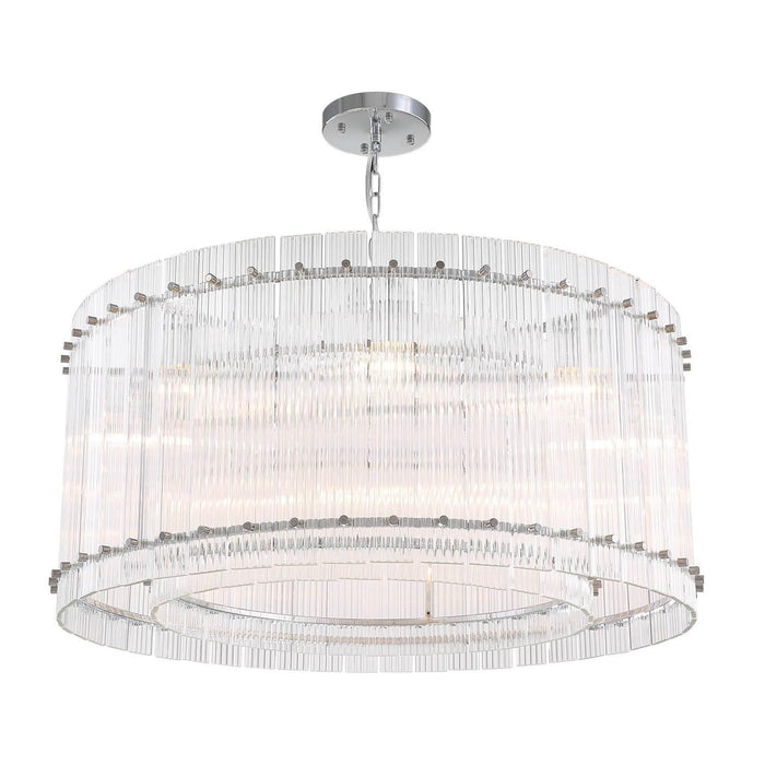 2-Tiered Round Crystal Pendant Light with Chrome Finish