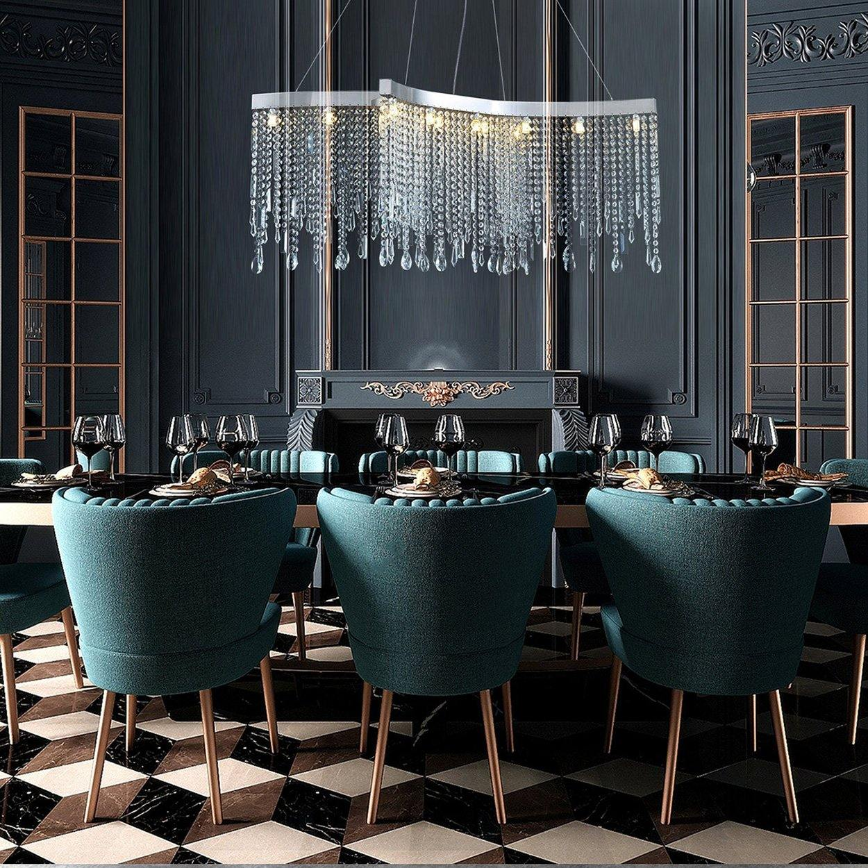 Contemporary Tassels Linear Crystal Chandelier Dining Room 7pm Lighting