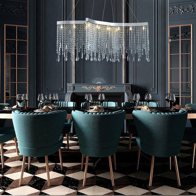 Contemporary Tassels Linear Crystal Chandelier Dining Room