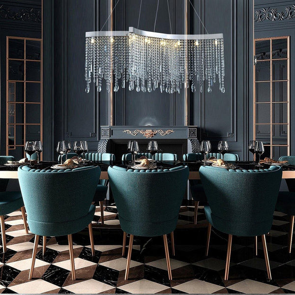 Contemporary Tassels Linear Crystal Chandelier Dining Room - 7PM LIGHTING