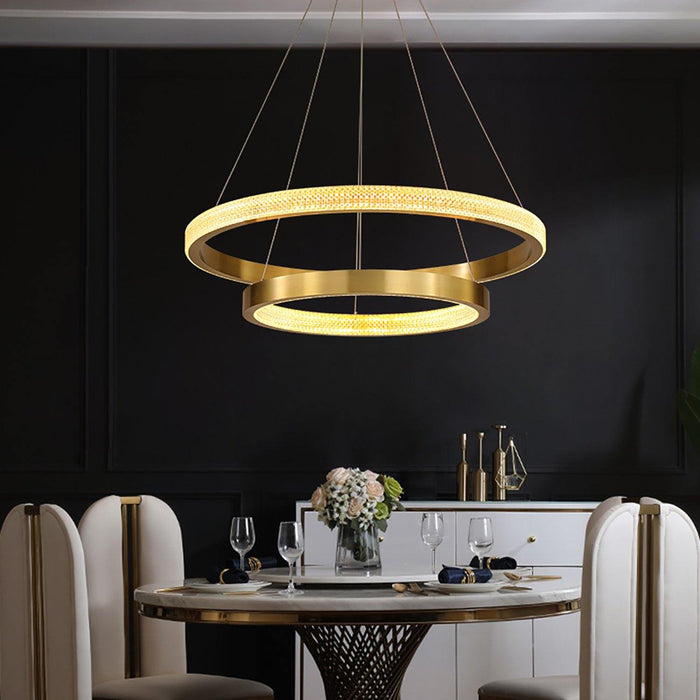 2 Rings Contemporary Gold Round Pendant Light For Dining Room