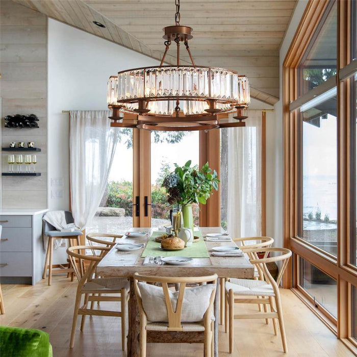 Industrial Farmhouse Crystal Chandelier