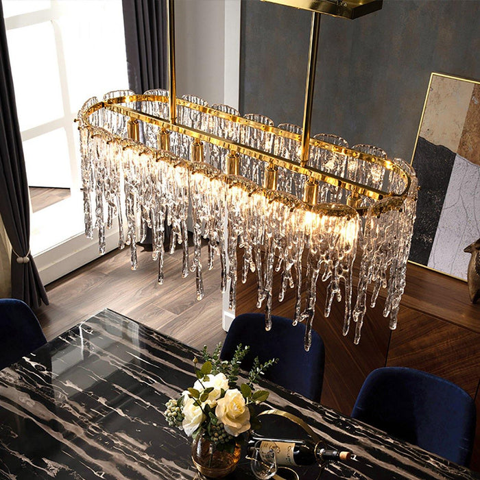 Contemporary Gold Oval Icicle Chnadelier with Copper Frame - 7PM LIGHTING