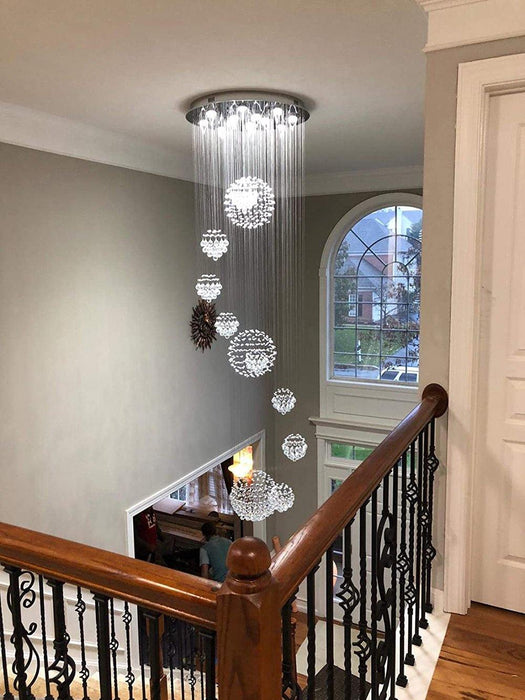 Solar System Spiral Sphere Raindrop Crystal Chandelier - 7PM LIGHTING