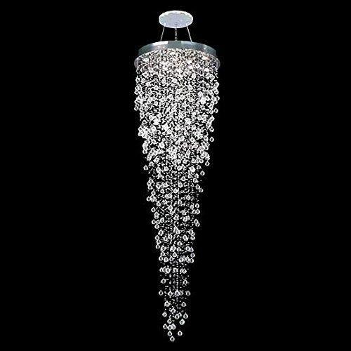 7PM Luxury Round Rain Drop Pendant Lamp Clear K9 Crystal Chandelier for Hotel Hall Staircase Lighting Fixture