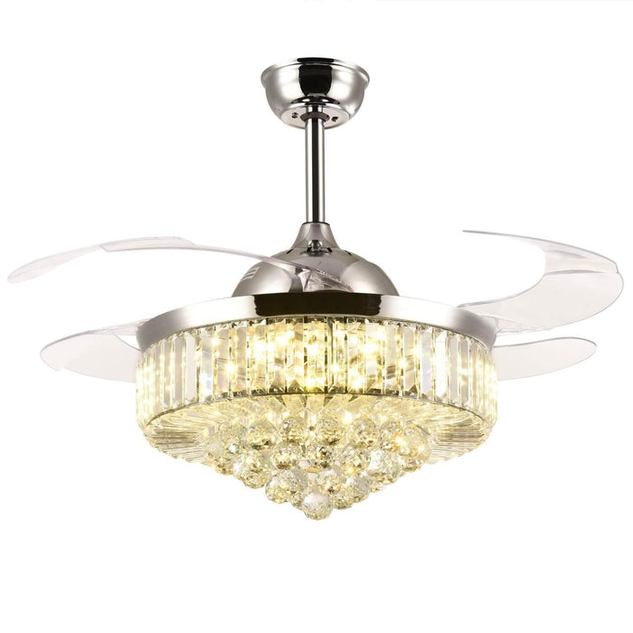 42 Inch Chrome Crystal Chandelier Ceiling Fan with Dimmable Light and Retractable Blades Warm Light