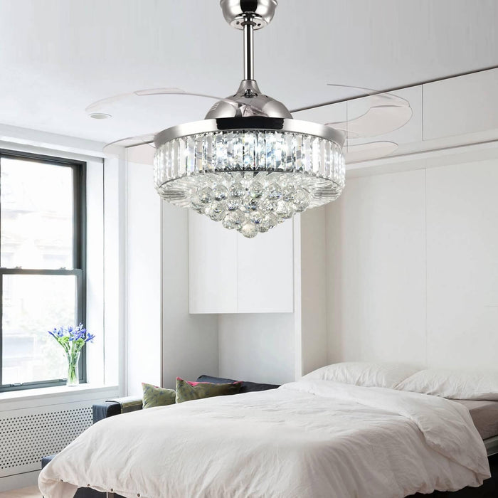 42 Inch Chrome Crystal Chandelier Fan with Light and Retractable Blades For Bedroom