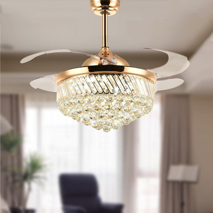"Retractable Fan with Dimmable Led Light Invisible Blades, 42"" Gold"