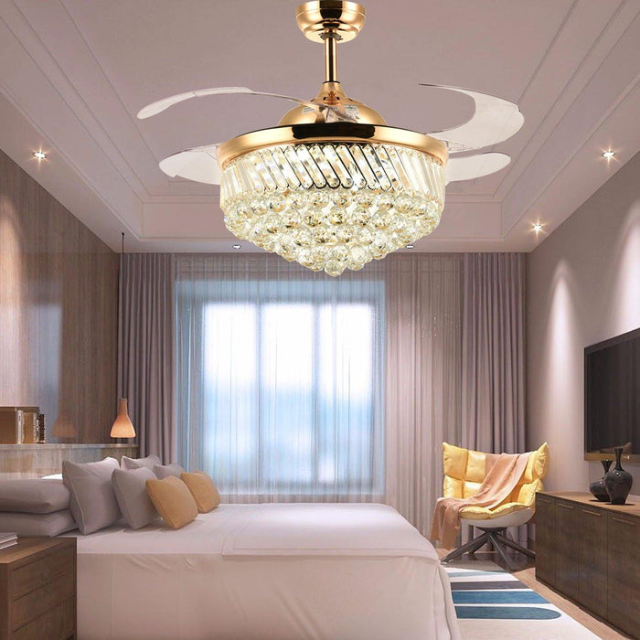 "Retractable Fan with Dimmable Led Light Invisible Blades, 42"" Gold - Living room"