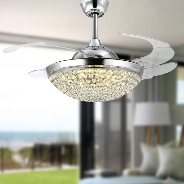"Crystal Chandelier Fan with Retractable Blades 42"" Chrome"