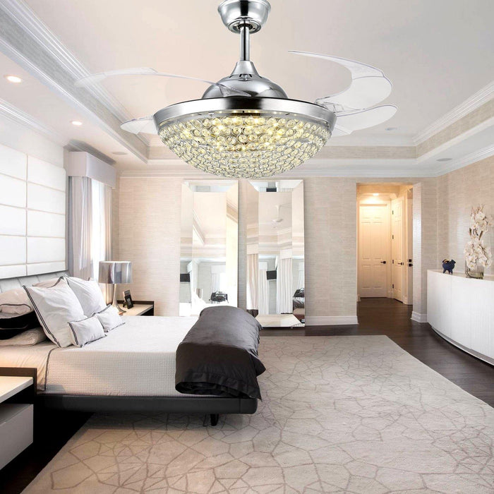 "Crystal Chandelier Fan with Retractable Blades 42"" Chrome - Bedroom"