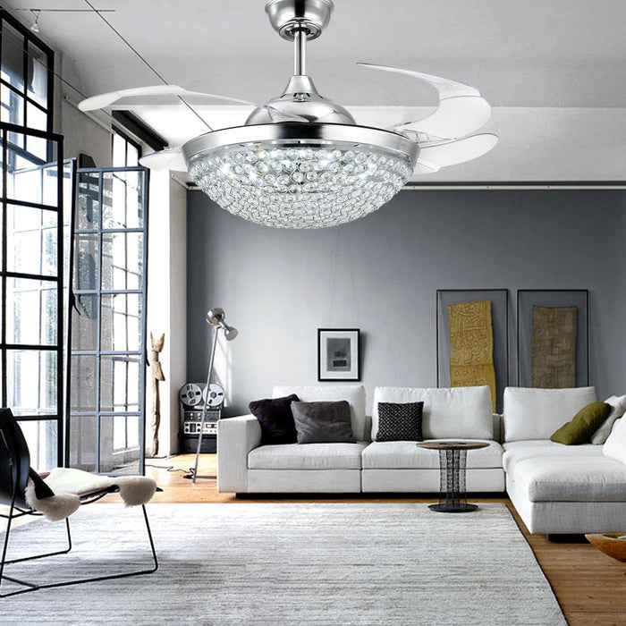 "Crystal Chandelier Fan with Retractable Blades 42"" Chrome - Living Room"