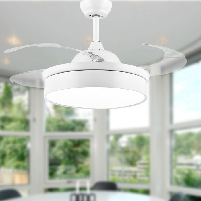 "Modern Minimalist Fan Light with Retractable Blades, 42"" White"