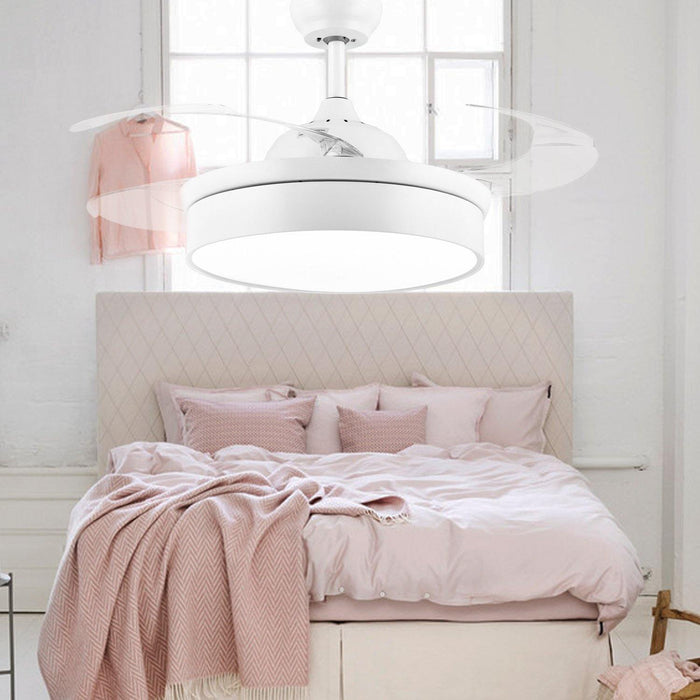 "Modern Minimalist Fan Light with Retractable Blades, 42"" White - Bedroom"