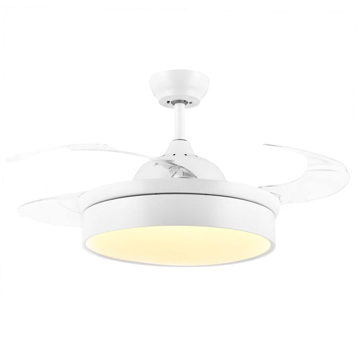 "Modern Minimalist Fan Light with Retractable Blades, 42"" White - Warm light"