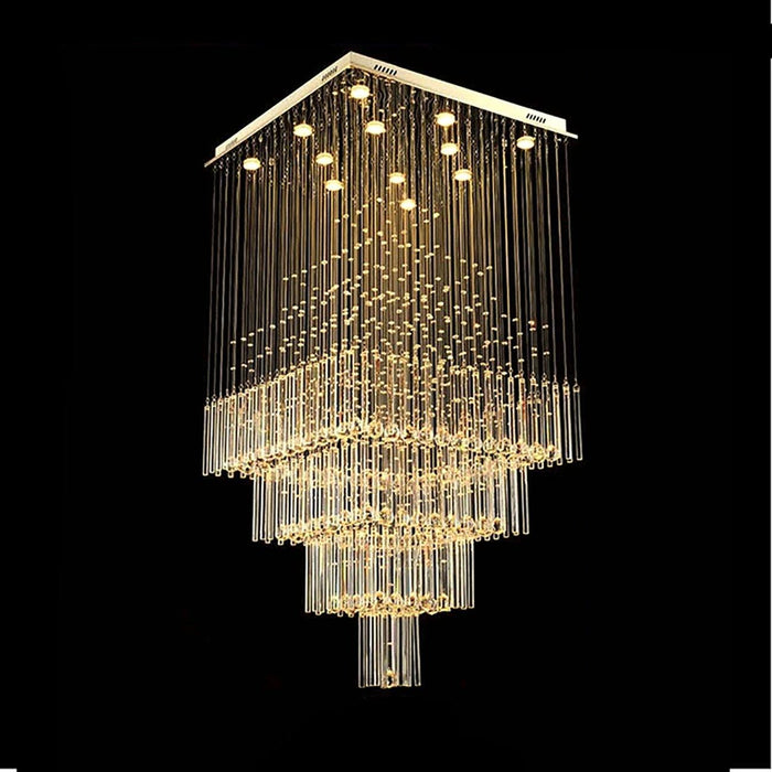 Square Raindrop Crystal Chandelier For Staircase - 7PM LIGHTING