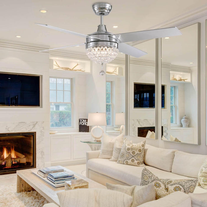 4 Blades Crystal Ceiling Fan with Light For Living Room