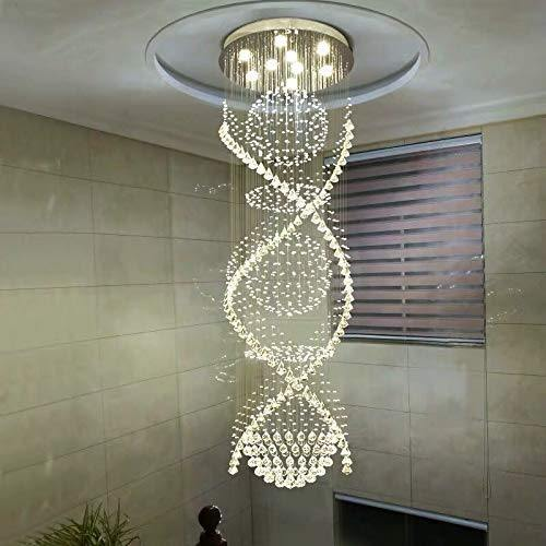 Double Spiral Crystal Chandelier with Three Spheres - Stairwell