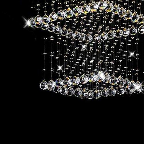 7PM Modern Square Circle Crystal Chandelier LED Rain Drop Lamp for Hall Way Hotel Staircase Lighting Fixture - 7PM LIGHTING