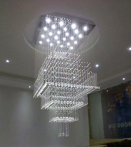 7pm modern contemporary crystal chandelier luxury square rain drop 7pm modern contemporary crystal chandelier luxury square rain drop lamp clear led light staircase lighting fixture aloadofball Gallery