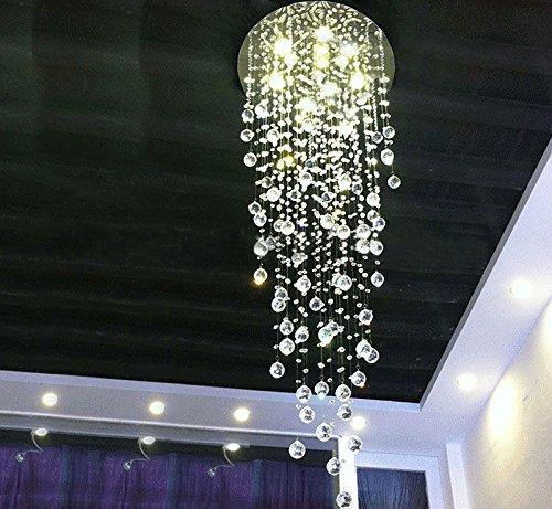 7PM Modern Rain Drop Clear K9 Crystal Chandelier for Hotel Hall Staircase Lighting Fixture