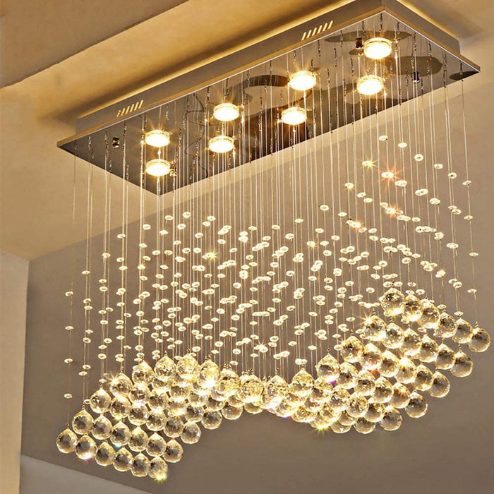 Rectangle Wave Raindrop Crystal Chandelier - 7PM LIGHTING
