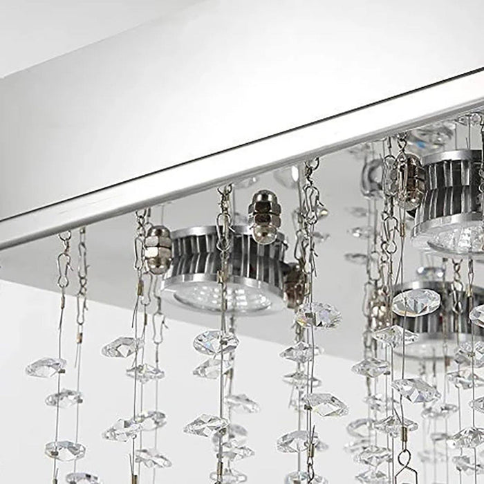 Square Mini Crystal Raindrop Chandelier Hallway