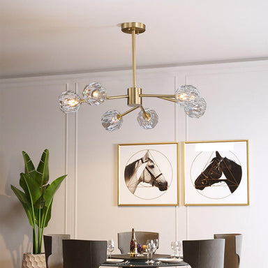 Retro Sputnik Brass Branch Cystal Chandelier Semi Flush Mount
