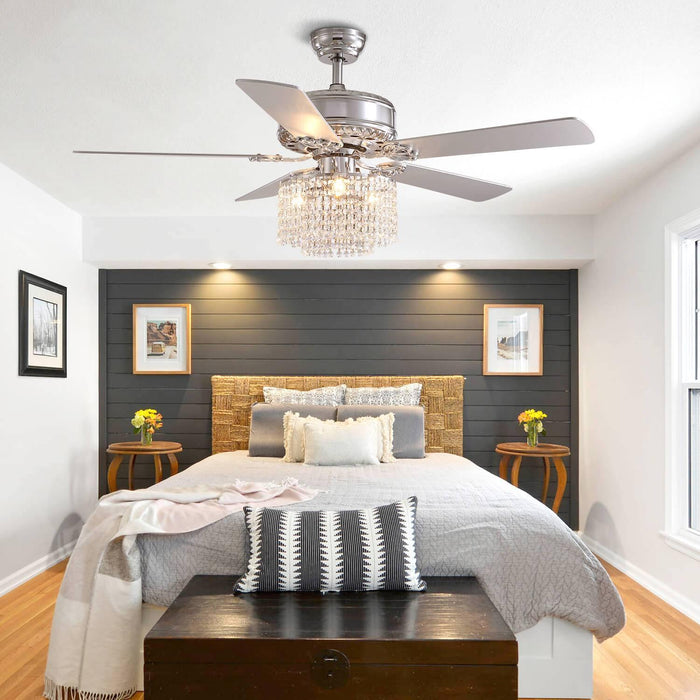 5  Blades  Ceiling  Fan  with  Globe  Crystal  Shade  For  Bedroom
