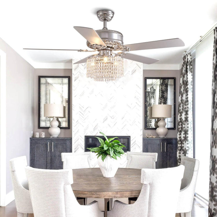 5  Blades  Ceiling  Fan  with  Globe  Crystal  Shade  For  Dining  Room